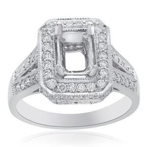 0.90 Ct Diamond Halo Engagement Mounting 18K Gold